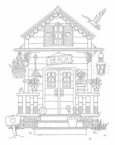 Beach House Coloring Page Architecture Coloring Pages For Adults - Coloring Page Ideas House Colouring Pages, Coloring Book Pages, Beach Coloring Pages, Colouring Pages For Adults, Relaxing Art, Printable Coloring Sheets, House Quilts, House Drawing, Colorful Pictures