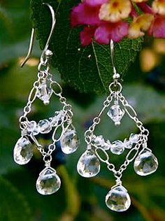 #E001    Swarovski crystals fall perfectly and make for one of the most delicate pairs of chandelier earrings!  **CUSTOMIZABLE  **Matching necklace and bracelet available