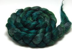 Handpainted Alpaca Silk Roving  Limelight  4 oz by KnittyAndColor, $24.00