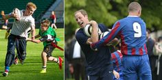 Left: Britain's Prince Harry coached students from across England in rugby on Oct. 17, 2013 at Twickenham Stadium in London, where he was joined by Rugby World Cup winner Jason Robinson. Harry is the patron of the Rugby Football Union's All Schools program.    Right: Prince William trains with players in the grounds of Buckingham Palace in London to mark the Football Association's 150th anniversary on Oct. 7, 2013