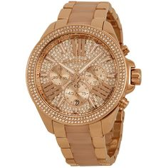 Michael Kors Wren Crystal Pave Dial Chronograph Ladies Watch ($189) ❤ liked on Polyvore featuring jewelry, watches, crystal bracelet, pandora bracelet, michael kors bracelet and analog watches