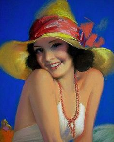 ROLF ARMSTRONG PIN UP PRINT 1900'S RARE!!! BEAUTIFUL ON LITHO PAPER