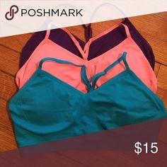 3 sports bras 3 Bras. Large 12-14 no underwire, very comfortable.  Also has padding. Danskin Intimates & Sleepwear Bras