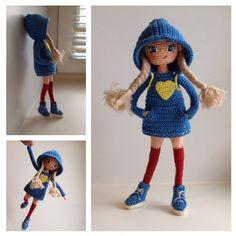 Cool amigurumi doll in long socks and a hoody. Crochet Fairy, Love Crochet, Beautiful Crochet, Crochet Cross, Knit Crochet, Knitted Dolls, Crochet Dolls, Amigurumi Doll, Amigurumi Patterns