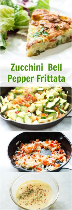 ... frittata combines eggs with zucchini, red bell pepper and onion to