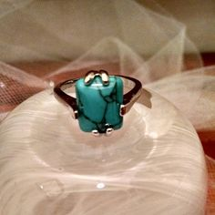 Turquoise Stone Square Cut Ring Beautiful Real Turquoise stone polished ring.  Size 10 Jewelry Rings