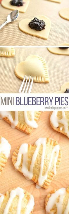 These heart shaped mini blueberry pies are SO EASY to make and they taste amaaaaazing! They use jam as the filling and you can even use store bought pie crust! Find ideas for your next dessert recipes! We got the best desserts from no bake, chocolate, app Mini Desserts, Easy Desserts, Delicious Desserts, Dessert Recipes, Yummy Food, Homemade Desserts, Christmas Desserts, Finger Desserts, Light Desserts