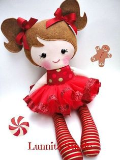 Cute handmade crafts Holiday doll Handmade cloth dollChristmas by lunnitastudio on Etsy Dolls And Daydreams, Fabric Toys, Paper Toys, Sewing Dolls, Baby Kind, Felt Toys, Soft Dolls, Diy Doll, Cute Dolls
