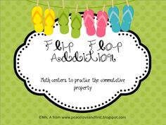 Peace, Love, and First Grade - flip flop addition on TPT