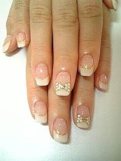 simple french tip & bow nail art