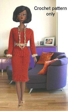 Crochet pattern (PDF) classy suit jacket & skirt for Silkstone Barbie doll Fashion Royalty