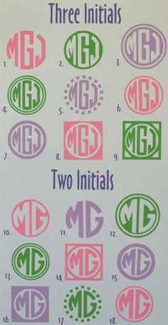 Personalized Monogram Vinyl Car Decal Sticker - Circle Font