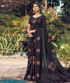 Chanderi Silk Saree Chanderi Silk Saree, Silk Sarees, Long Cut, Blouse Online, How To Dye Fabric, Color Shades, Head To Toe, Black Fabric, Sleeves