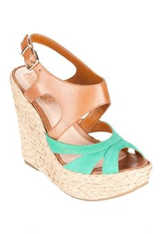 Two-tone platform #wedge #sandals #shoes