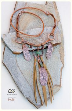 fold formed talisman copper and leather by AnniamAeDesigns on Etsy, $164.00