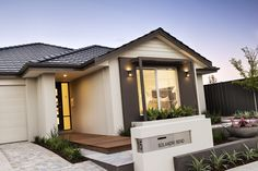 Homebuyers Centre Liberty Display Home Facade House, House Facades, House Exteriors, Home Landscaping, Front Yard Landscaping, Brick Rendering, Brick Mailbox, House Plans Australia, Front Garden Landscape