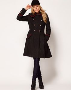 26246004ce6 ASOS Military Fit And Flare Coat Fit And Flare Coat