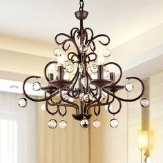 Wrought Iron and Crystal 5-light Chandelier - Overstock™ Shopping - Great Deals on Otis Designs Chandeliers & Pendants