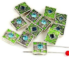 14 rhinestone 2 hole slider beads 9648