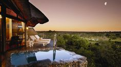 Leopard Hills is a breathtaking lodge situated in the 'Big 5' Sabi Sand Game Reserve adjoining the world famous Kruger National Park. Hotel Guests can view Lions, Giraffes, and zebras from their open veranda!