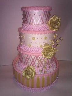 Gold and Pink Elegant Diaper Cake Girl by ReadyMadeDiaperCakes