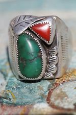 Vintage Southwestern Tribal Sterling Silver Turquoise & Red Coral Chunky Ring