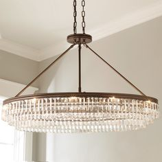 Prism Faceted Glass Layered Island Chandelier - Shades of Light Ceiling Chandelier, Chandelier Shades, Ceiling Fixtures, Light Fixtures, High Ceiling Living Room, Chandelier In Living Room, High Ceiling Lighting, Ceiling Lights, Table Lighting