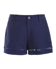 Solid-tone Hollow-out Mid-rise Shorts