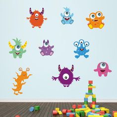 Friendly Monster Wall Stickers Monster Wall Decals by Mirrorin