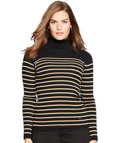 Lauren Ralph Lauren Plus Size Striped Turtleneck Sweater