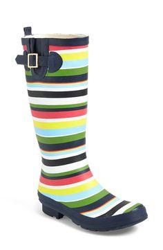 Striped rain boots!