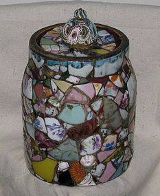 Vintage Lidded Memory Jar of  Bits and Pieces Mosaic