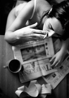 Coffee and newspaper. #morning #black #romantic #cigarette #woman