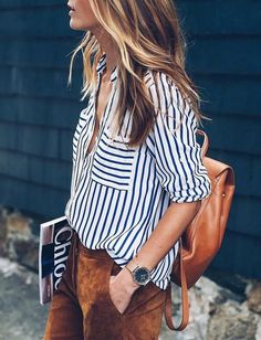 striped button up // suede pants