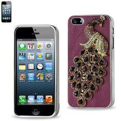 Reiko Protector Cover For Iphone5 Diamond Peacock Purple