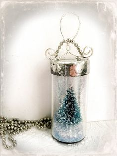 RESERVED Snow Globe Necklace Soldered Vial Necklace by Mystarrrs