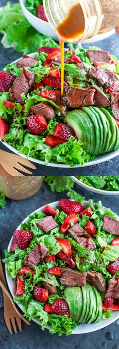 Ready in under 25 minutes, this Strawberry Steak Salad with Homemade Balsamic Dressing is quick and easy enough for lunch or weeknight dinner!