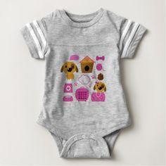 Cute dogs on white baby bodysuit - kids kid child gift idea diy personalize design
