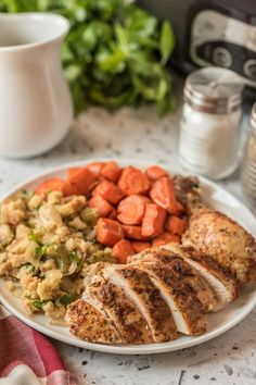 This Crockpot Whole Chicken and Stuffing is a simple yet delicious one-pot meal that is  great dish for the holidays or any night of the week. via @familyfresh Yummy Chicken Recipes, Crockpot Recipes, Cooker Recipes, Family Fresh Meals, Family Recipes, Roasted Smashed Potatoes, Best Slow Cooker, My Favorite Food, Favorite Recipes