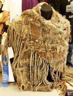 Handspun Triangle loom saori shawl