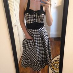 "Gingham rockabilly pinup dress black white xs Classic brand new never-worn halter dress by queen of holloway. Halter dress with heart-shaped pockets. Bottom half of dress is lined. I'm 5""5 for reference. Measurements lying flat are: 30–32 ""bust, 26–28 ""waist, 36 ""length (straps not included). Queen of holloway Dresses"