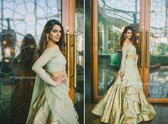 A ruffled silhouette, mint green gown with gold embroidery by Gaurav Gupta at WeddingSutra Bridal Diaries. Indian Wedding Gowns, Indian Dresses, Indian Outfits, Wedding Dresses, Reception Gown, Wedding Reception, Wine Dress, Indian Attire, Indian Wear