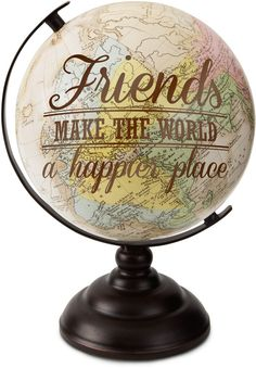 Spread loving kindness to your favorite people by giving them this decorative globe that has cosmopolitan charm. Full graphic text: Friends make the world a happier diameterPaper / ironImported Globe Art, Globe Decor, Map Globe, Globe Crafts, Map Crafts, Map Projects, Globe Projects, Painted Globe, Happy Crafters