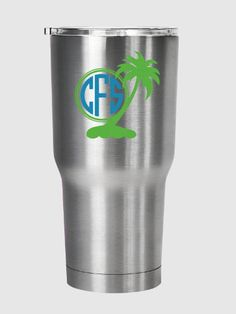Check out Palm tree island scene monogram decal, for Yeti®, RTIC, Ozark Trail or other tumbler on PracticallyWhimsy