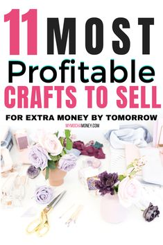 Most Profitable Crafts to Sell: Learn about 11 Most Profitable Crafts to Sell to Make Extra Money. If you love to make crafts and DIY projects AND you'd like to make some extra money, this article is for you! Lots of DIY and craft ideas to get you started making and selling your own crafts on Etsy, Amazon Handmade, eBay, at craft sales, through social media and more! #easycraftstosell #diycraftstosell #mostprofitablecraftstosell#handmadecraftstosell #craftstosellonetsy #extramoney Easy Crafts To Sell, Money Making Crafts, Diy And Crafts, Fun Crafts, Sell Diy, Craft Tutorials, Craft Ideas, Diy Ideas, Craft Business