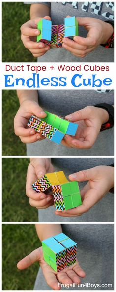 to Make a Duct Tape Endless Cube How to Make a Duct Tape Endless Cube - Fun fidget toy. This cube changes shape endlessly.How to Make a Duct Tape Endless Cube - Fun fidget toy. This cube changes shape endlessly. Craft Projects For Kids, Fun Crafts For Kids, Activities For Kids, Teen Arts And Crafts, Art Project For Kids, Fun For Kids, Toys For Kids, Craft Ideas, Fun Games For Boys
