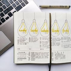 Bullet journal weekly layout, unique date headers, cursive date headers, lightbulb drawings. Bullet Journal Weekly Layout, January Bullet Journal, Bullet Journal Themes, Bullet Journal Spread, Bullet Journal Ideas Pages, Bullet Journal Inspiration, Cursive, Filofax, Travel Couple Quotes
