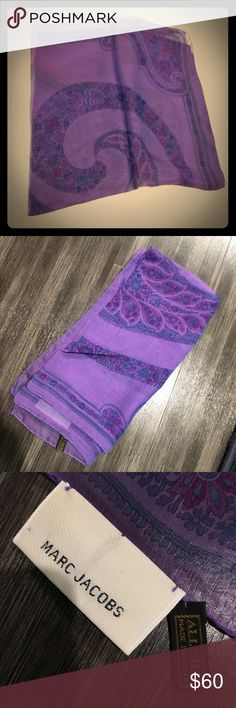 """Marc Jacobs Pure Silk Square scarf - purple Vintage translucent purple silk scarf with a single paisley pattern in center, and green/blue border. 21""""x21"""", made in Italy. (Being sold on eBay for $68) Marc Jacobs Accessories Scarves & Wraps"""
