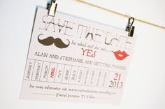Stache and Lips Save the Date by SimpleSimonDesign on Etsy, $110.00 .http://www.etsy.com/shop/SimpleSimonDesign