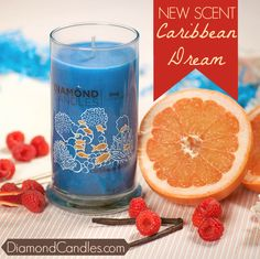 NEW SCENT - PIN NOW shop later!  A warm ocean breeze and chime of steel drums is what you'll dream of when you light up this intoxicating Caribbean scent.  This soy candle releases a bouquet of sweet berries, tangerine nectar, and white grapefruit with subtle hints of creamy coconut milk and vanilla that linger in your room for the ultimate staycation.